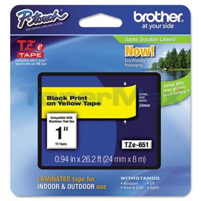 BROTHER TZ LAMINATED TAPE BLACK ON YELLOW 0.94 IN X 26.2 FT
